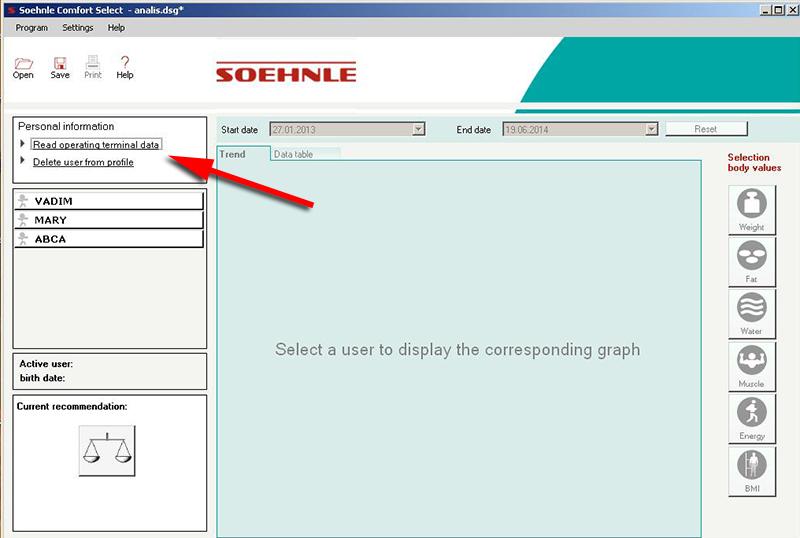 Считывание данных - Soehnle Comfort Select